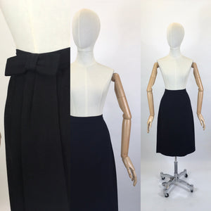 Original 1950's Black Wool Pencil Skirt - With Amazing Back Bow Detailing