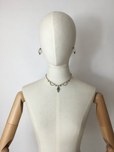 Original 1940's Costume Jewellery Set - Lovely Set in White & Green