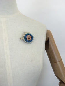 Original 1940's Make Do and Mend Telephone Cord Wirework Brooch - In White, Blue and Pale Pink