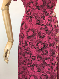 Original 1940s STUNNING Novelty Print Rayon Dress - Love Heart and key Illustrations In Rich Magenta and Black