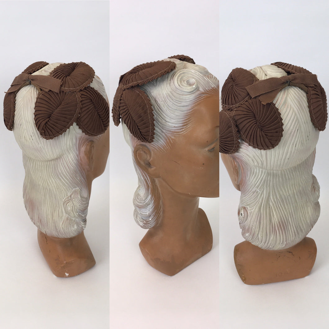 Original 1950s Darling Soft Brown Grosgrain Headpiece - Wire Construction With Hand Pleated Grosgrain Swirls