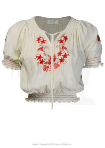 House of Foxy 1930's / 1940's Peasant Blouse - In Red Embroidery