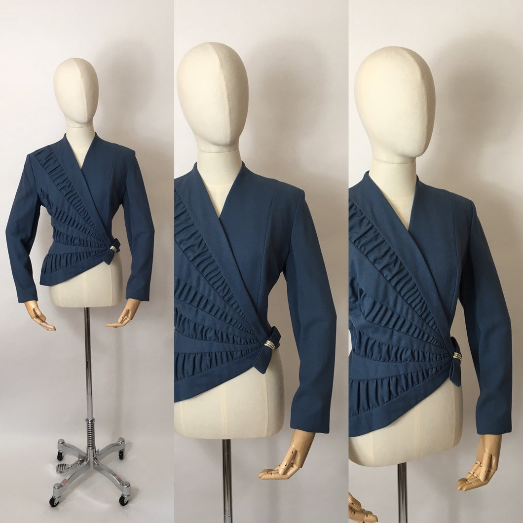 Original 1940's ' Lilli Ann' Asymmetric Front Jacket - In a Lovely Airforce Blue