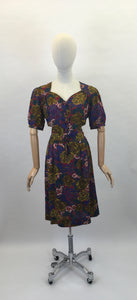 Original 1940s Beautiful Day Dress - In a Lovely Floral in Deep Reds,Mustards, Rich Purples and Stencilled Blacks