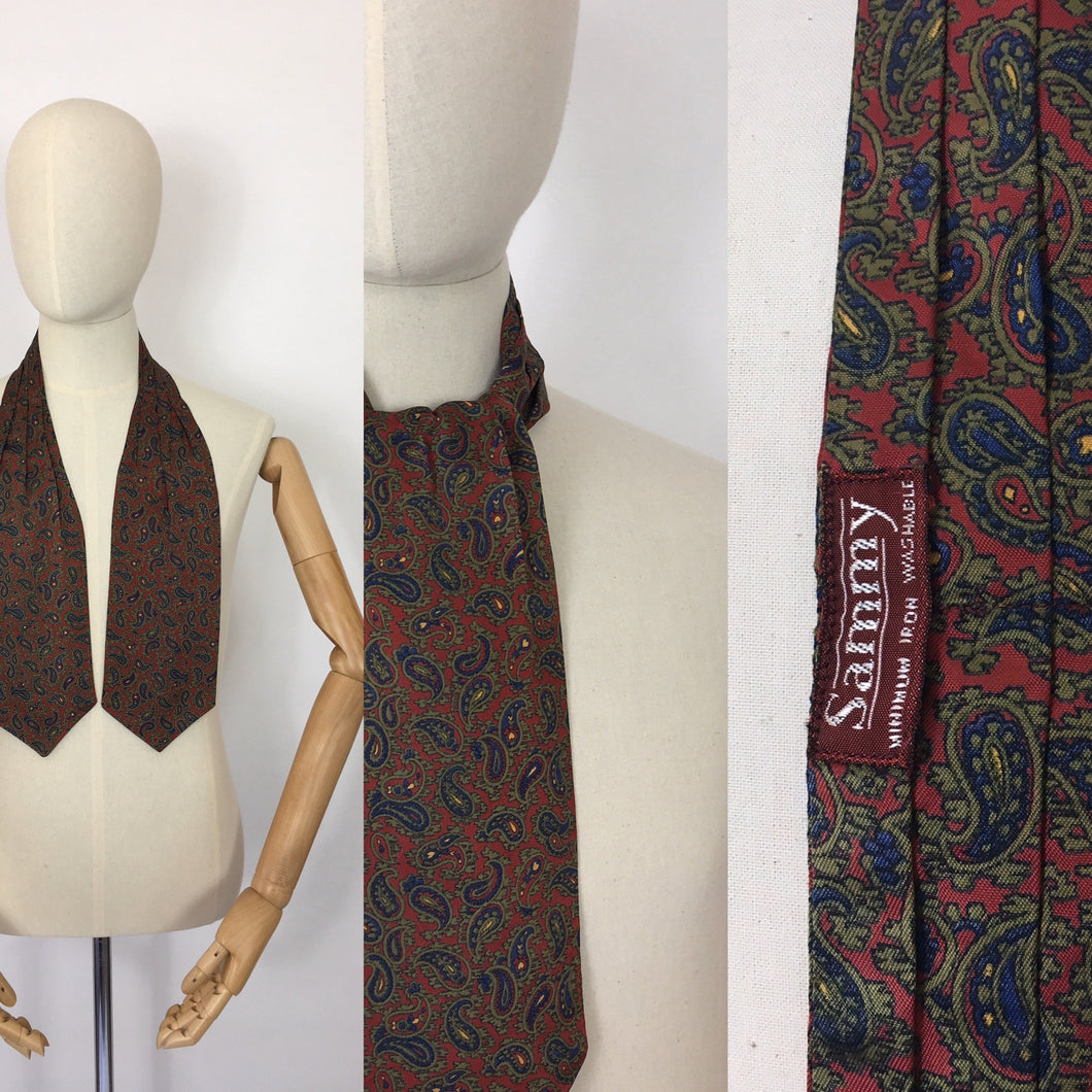 Original 1950's Mens Silk  ' Sammy ' Label Cravat - In a Paisley Print featuring burgundy, blue, green and yellow