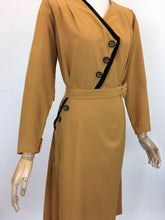 Load image into Gallery viewer, Original Late 1940's Stunning Dress With Asymmetric Detailing - In A Perfect Shade Of Pumpkin Spice