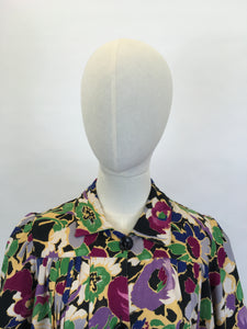 Original 1940's FABULOUS CC41 Utility Blouse - In A Darling Floral Linen in A Winter Berry Palette