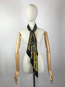 Original 1930's SENSATIONAL Silk Deco Pointed Scarf - In Black, Gold & Cream