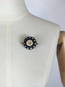 Original 1940's Make Do And Mend Telephone Cord Brooch - In A Simple Black & White Colourway