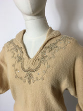 Load image into Gallery viewer, Original 1940's Knitted Jumper - Adorned with Beautiful Beadwork & Has Dolman Sleeves