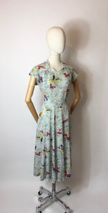Original 1940's Dancing Horses Print Dress - In a lovely Sheer Rayon Fabric