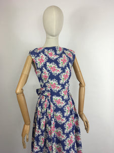 Original 1950s Darling Floral Day Dress - In a Beautiful Crisp Cotton in Rich Blue, Powder Pinks, White and Grassy Green.