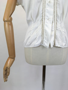 Original 1950's ' Weber' Blouse in Crisp White - Featuring Lace and Pintuck Detailing to the Bodice