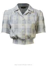 House of Foxy 1940s Land Girl Blouse - In Grey Check