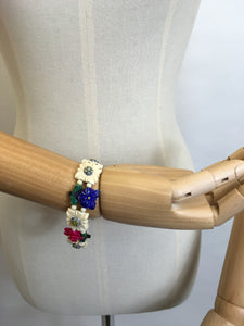 Original 1940's Celluloid Floral Bracelet - In lovely Summertime Colours