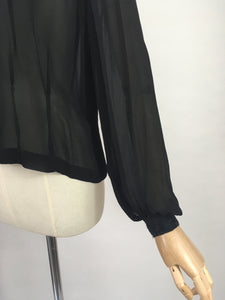 Original 1940's Darling Sheer Black Blouse - With Beautiful Contrast Lace Detailing
