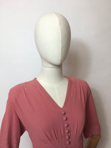 Original 1940's Rose Pink Crepe Dress - Lovely Panelled Waist Detailing