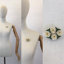 Load image into Gallery viewer, Original 1940s Celluloid Floral Brooch - In Soft White and Green