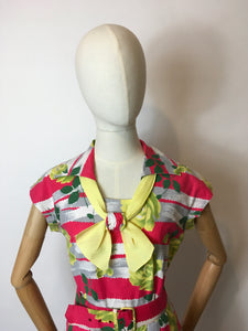 Original 1950s Cotton Day Dress - In a Fabulous Floral Cotton in Bright Pinks, Yellows & Greens