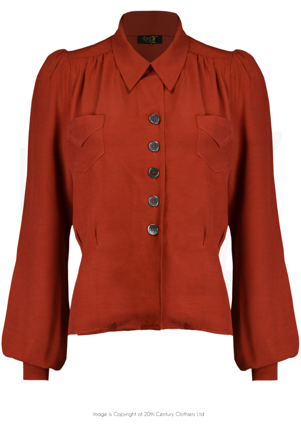 House Of Foxy 1940's Sweetheart Blouse In Rust