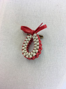 Original 1940's Make Do and Mend Telephone Cord Brooch - In Red and White