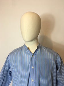 Original 1940's CC41 Utility St Michael Collarless Shirt - In a Lovely Blue and White Stripe