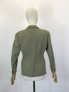 Original late 1940's early 1950's Fitted Jacket - In A Lovely Sage Green
