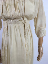 Load image into Gallery viewer, Original Early 1910's Dress - Made from The Most Beautiful Buttermilk Cream Raw Silk with Exquisite Antique Detailing