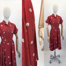 Load image into Gallery viewer, Original 1940's ' Leslie Fay' Novelty Print Rayon Dress - In a STUNNING knitting Needle and Yarn Print