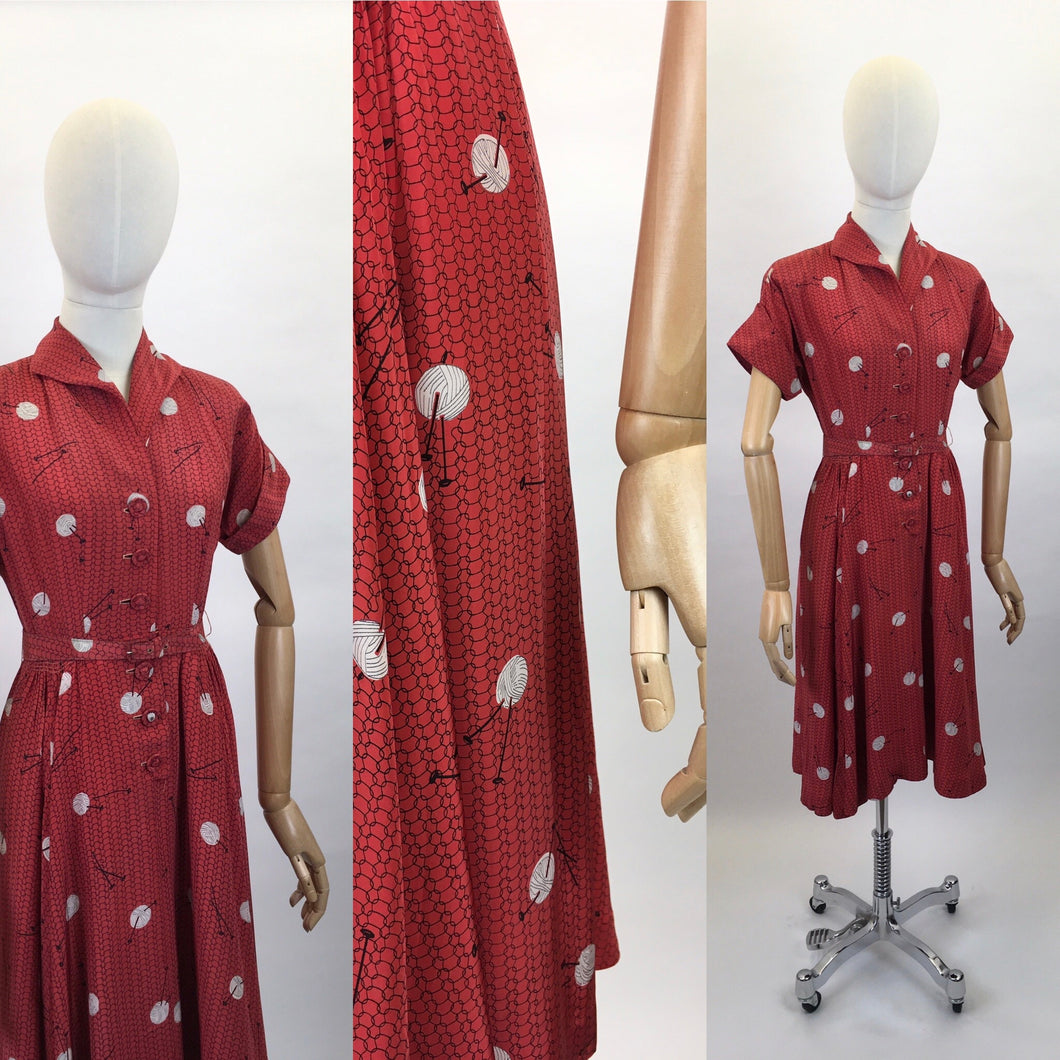Original 1940's ' Leslie Fay' Novelty Print Rayon Dress - In a STUNNING knitting Needle and Yarn Print