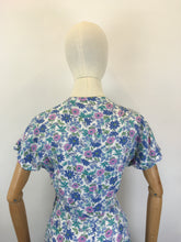 Load image into Gallery viewer, Original 1940's Gorgeous Floral Cotton Day Dress - In Summertime Blues, Pinks, Purples & Greens