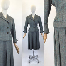 Load image into Gallery viewer, Original late 1940's 2pc Woollen Suit by ' Harella' - Grey Toned with a Bright Teal Fleck