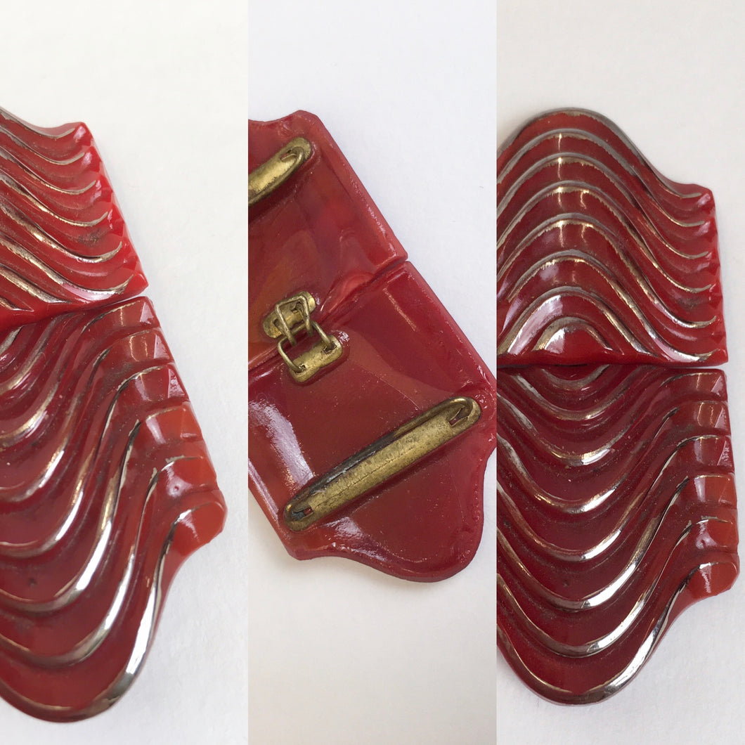 Original 1930's Art Deco Red Glass Buckle - With Fabulous Detailing
