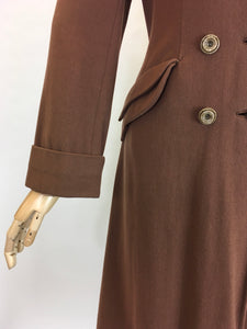 Original 1940's SENSATIONAL Brown Wool Coat - With A Beautiful Rich Brown Velvet Trim
