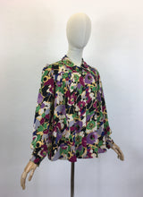 Load image into Gallery viewer, Original 1940's FABULOUS CC41 Utility Blouse - In A Darling Floral Linen in A Winter Berry Palette