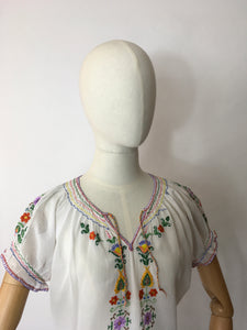 Original 1940's Embroidered Blouse - Featuring Beautiful Embroidered Detailing in Rainbow Colours