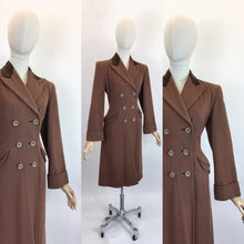 Load image into Gallery viewer, Original 1940's SENSATIONAL Brown Wool Coat - With A Beautiful Rich Brown Velvet Trim