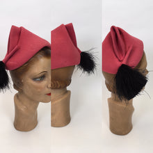 Load image into Gallery viewer, Original 1930's AMAZING Raspberry Pink Pixie Hat - With a Fabulous Ostrich Feather Plume In Black