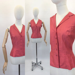 Original 1950s Deep Coral Cotton Blouse - In a Classic 50's Silhouette