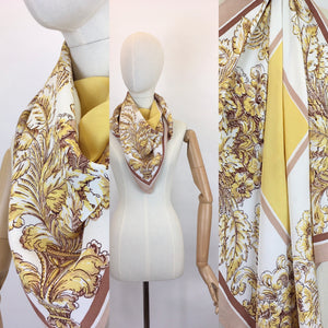 Original 1940s Fine Crepe Scarf - In A Beautiful Floral In Soft Yellows, Fawns, Warm Brown and Creams