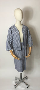 Original 1950s Summer Suit In a lovely Lightweight Seersucker fabric - Blue & White Stripes