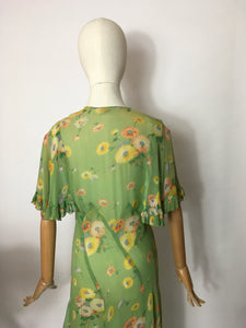 Original 1930's Bias Cut Gown In An Exquisite Colour Pallet of Deco Green, soft blues, oranges and yellows - A Festival Of Vintage Fashion Show Exclusive