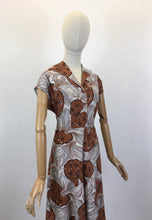 Load image into Gallery viewer, Original 1940's Cotton Day Dress - In A Lovely Muted Colour Pallet