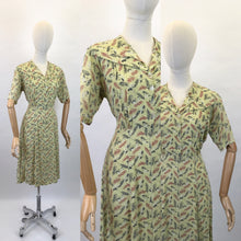 Load image into Gallery viewer, Original 1940s Day Dress - In a Lovely Chartreuse Crepe with Wheat / Leaf Print In Charcoal, Rust and White