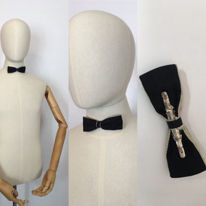 Original Men's Clip On Bow Tie - In Black with a Contrast Cream Lining