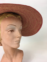 Load image into Gallery viewer, Original 1940's Wide Straw Sun Hat - In A Beautiful Red & Natural Straw