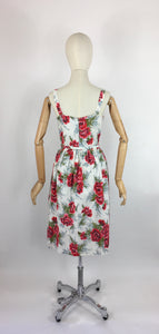 Original 1950s Floral Sun Dress with Contrast Bow and Piping - Beautiful Carnation Print Cotton in Bright Reds, Corals and Greens