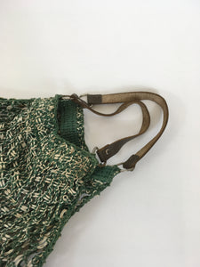 Original 1930's / 1940's String Bag with Leather Handles - In Green & White