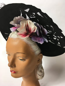 Original 1940's Black Halo Hat - Illusion cutwork detailing and Floral Adornment