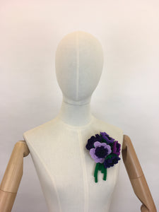 Reproduction Vintage 1940's Make Do and Mend Floral Corsage - In Rich Purples and Greens